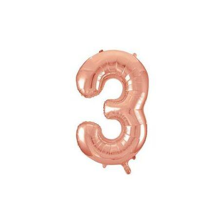 34 inch-es 3 Rozéarany - Rose Gold Számos Super Shape Fólia Lufi