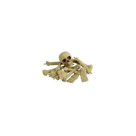 Koponya és csontok dekoráció hálóban
