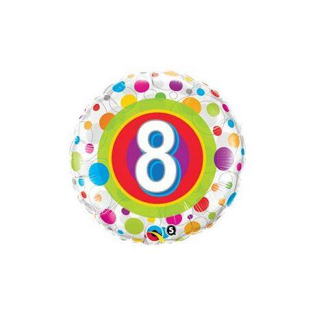 18 inch-es 8. Colorful Dots - Színes Pöttyös 8. Szülinapi Születésnapi Számos Fólia Léggömb