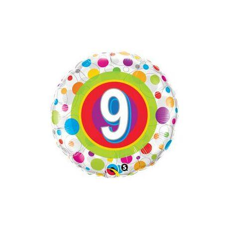 18 inch-es 9. Colorful Dots - Színes Pöttyös 9. Szülinapi Születésnapi Számos Fólia Léggömb