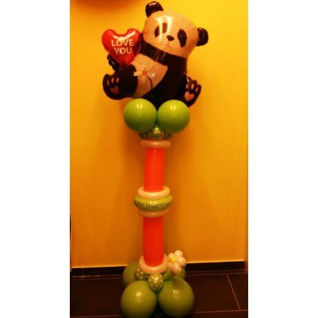 Lufi dekoráció Szerelmes panda oszlop