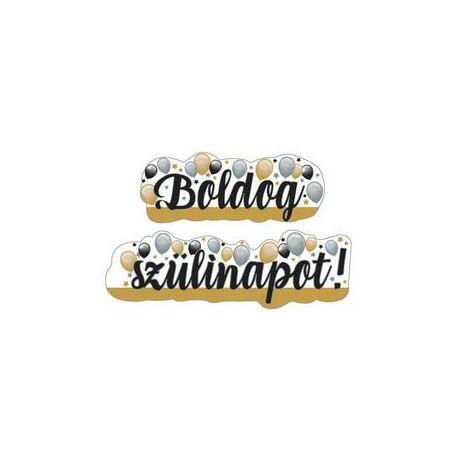 Boldog Szülinapot! Elegáns arany és ezüst léggömbös felirat - 148 cm x 27 cm