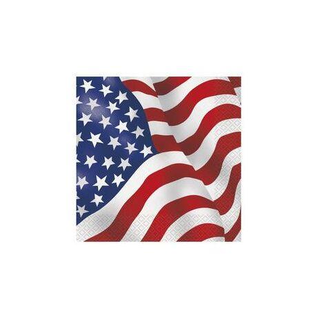 Amerikai Zászlós Party Szalvéta - 16 db-os, 33 cm x 33 cm