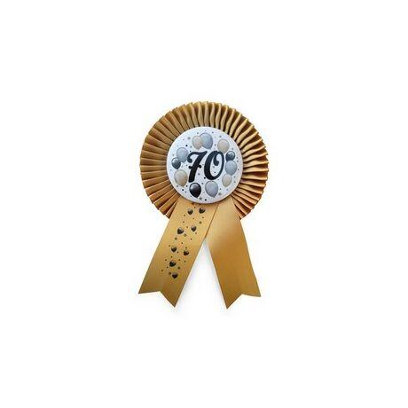Arany Szalagos 70-es Elegáns Léggömbös Szülinapi Számos Parti Kitűző