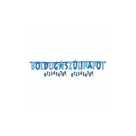 Boldog Szülinapot! Kék Fiús Számozható Betűfüzér/Banner Dekoráció - 2,4 m
