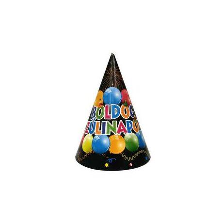 Boldog Születésnapot Fekete-Színes Party Kalap - 6 db-os
