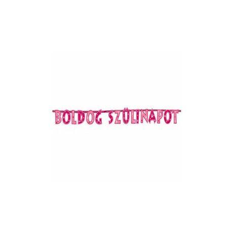 Boldog Szülinapot! Rózsaszín Lányos Betűfüzér/Banner Dekoráció - 2,3 m
