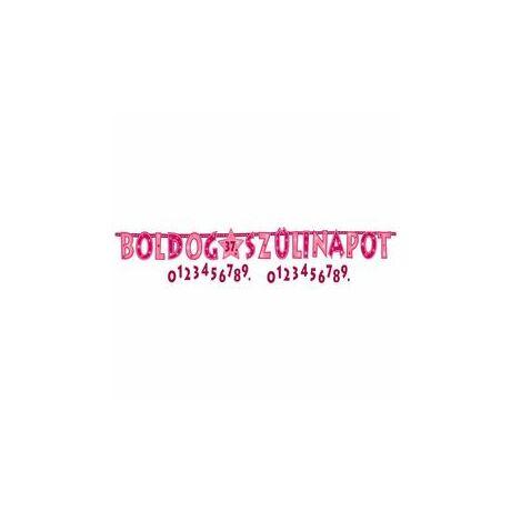 Boldog Szülinapot! Rózsaszín Lányos Számozható Betűfüzér/Banner Dekoráció - 2,4 m
