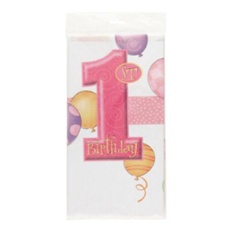 First Birthday Balloons Pink - Rózsaszín Léggömbös 1. Számos Születésnapi Party Abrosz - 137 cm x 213 cm