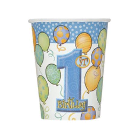First Birthday Balloons Blue - Kék Léggömbös 1. Számos Születésnapi Party Pohár - 266 ml, 8 db-os