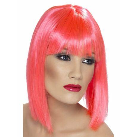 Vállig érő neon rózsaszín paróka