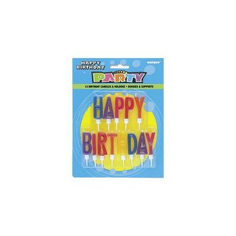 Happy Birthday Feliratú Gyertya Tartóval - 13 db-os