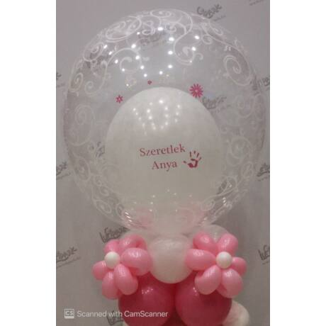 Szeretlek Anya asztali dekoráció különleges bubbles lufival
