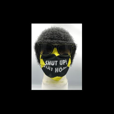 Shut up! Stay home sárga mintás szájmaszk, sterilizálható