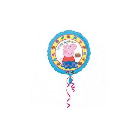 18 inch-es Peppa Pig - Peppa Malac Happy Birthday Születésnapi Fólia Lufi/Léggömb