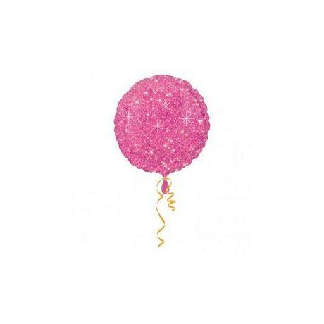 18 inch-es Csillogós - Csillag Mintás Pink Sparkle Kerek Fólia Lufi/Léggömb