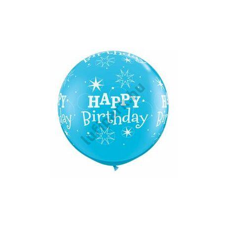 3 Feet-Es Birthday Sparkle-A-Round Robin's Egg Blue Szülinapi Lufi