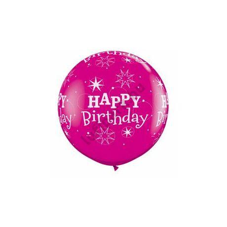 3 Feet-Es Birthday Sparkle-A-Round Wild Berry Szülinapi Lufi