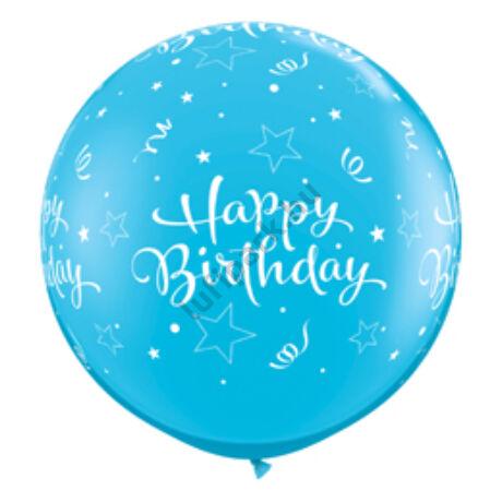 3 Feet-Es Birthday Shining Stars Robins Egg Blue Szülinapi Lufi
