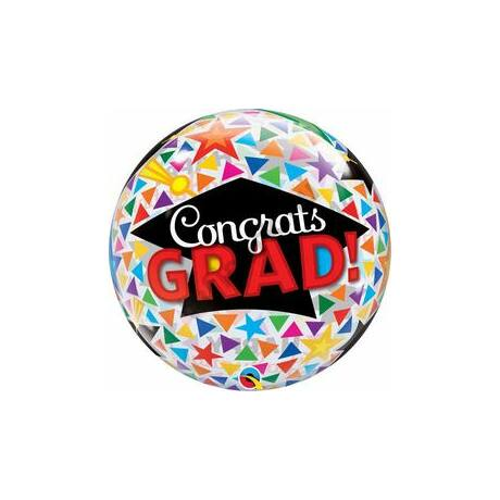 22 inch-es Congrats Grad Caps & Triangles (Kalapok és Háromszögek) Ballagási Bubbles Léggömb