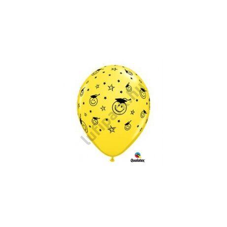 11 inch-es Smile Face Yellow Ballagási Léggömb