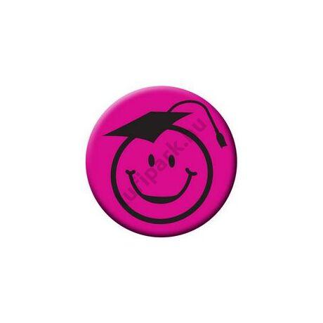 Kalapos smile fej rózsaszín kitűző ballagásra