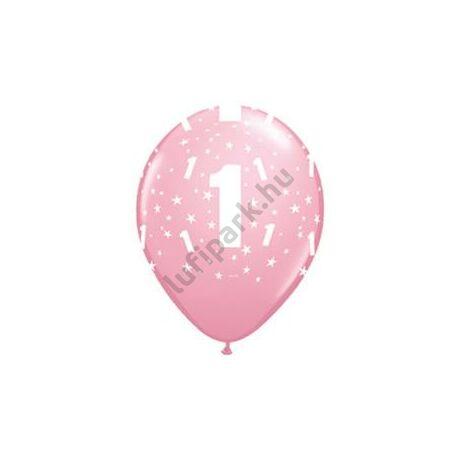 11 inch-es 1-es printelt Stars Pink Első Szülinapi Számos Lufi