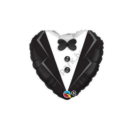18 inch-es Öltöny, Szmoking Esküvői Szív Fólia Léggömb
