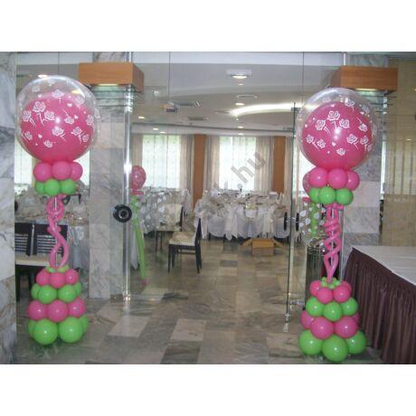 Esküvői dekorációs oszlop lime-pink