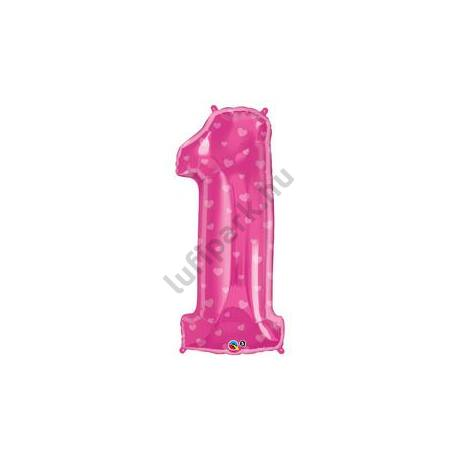 38 inch-es Number 1 Rózsaszín Szív Mintás Fólia Lufi