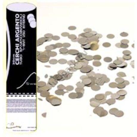 20 cm-es, Ezüst Színű Kerek Fólia Formákat Kilövő Party Konfetti Ágyú