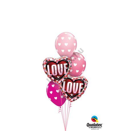 Love pink szíves csokor