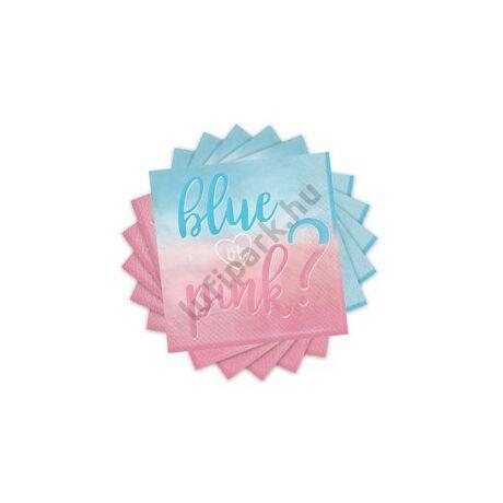 Blue or Pink Parti Szalvéta Babaszületésre - 16 db-os