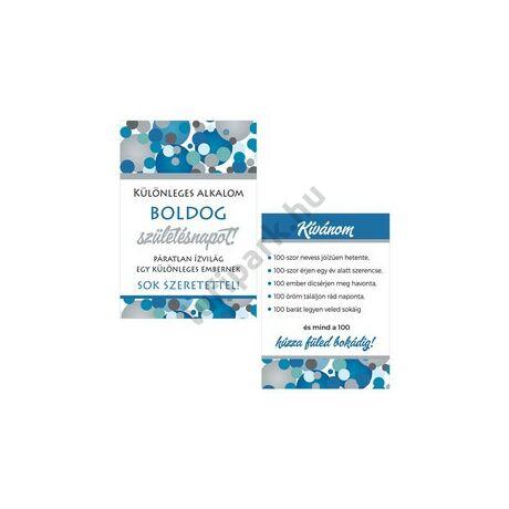 Boldog Születésnapot! Kék Pasztell Konfettis Boros Üveg Címke, 2 db-os