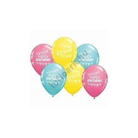 11 inch-es Birthday Pennants and Dots Szülinapi Lufi