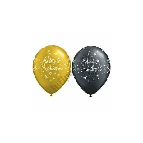 11 inch-es Boldog Szülinapot Gold és Black - Arany és Fekete Lufi