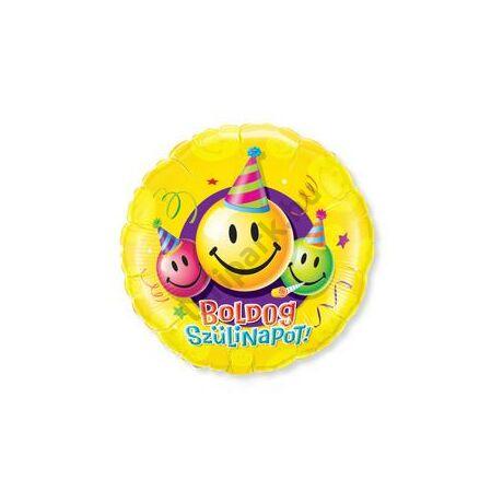 18 inch-es Boldog Szülinapot Feliratú Mosolygós-Smile Születésnapi Fólia Léggömb