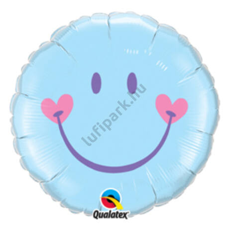 18 inch-es Mosolygó Arc, Fiú - Sweet Smile Face - Baby Pale Blue Fólia Lufi