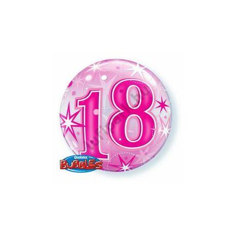 22 inch-es 18 Pink Starburst Sparkle Szülinapi Bubbles Léggömb