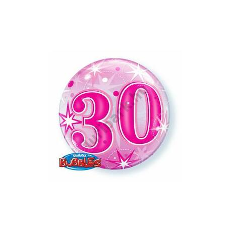 22 inch-es 30-as Pink Starburst Sparkle Születésnapi Bubbles Léggömb