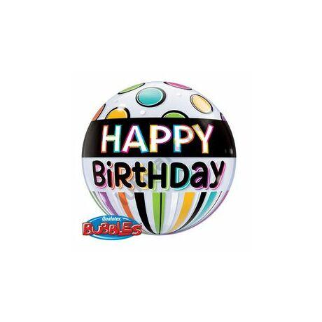 22 inch-es Birthday Black Band & Dots Szülinapi Bubbles Léggömb