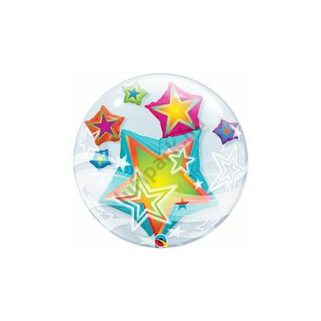 24 inch-es Multicolored Stars Double Bubble Léggömb
