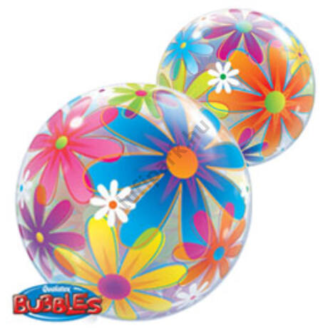 22 inch-es Színes Virágok - Fanciful Flowers Bubbles Léggömb