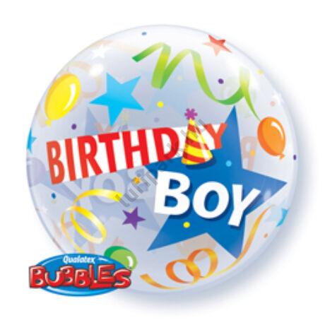 22 inch-es Kisfiúknak - Birthday Boy Party Hat Szülinapi Bubble Lufi