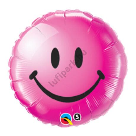 18 inch-es Vadmálna Mosolygós Arc - Smile Face Wild Berry Fólia Lufi