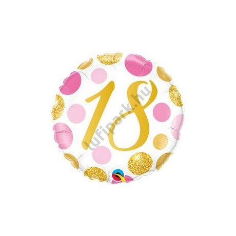 18 inch-es 18-as Pink & Gold Dots Szülinapi Számos Fólia Lufi