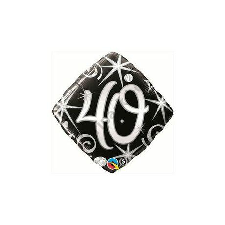 18 inch-es 40. Számos Szülinap Elegant Sparkles and Swirls Születésnapi Fólia Léggömb