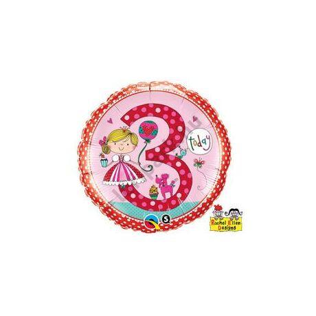 18 inch-es Hercegnő – Age 3 Princess Polka Dots 3. Születésnapi Számos Fólia Léggömb
