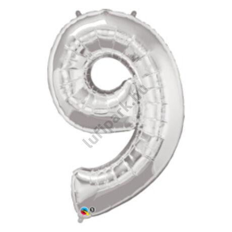 34 inch-es Number 9 Silver - Ezüst Számos Fólia Lufi