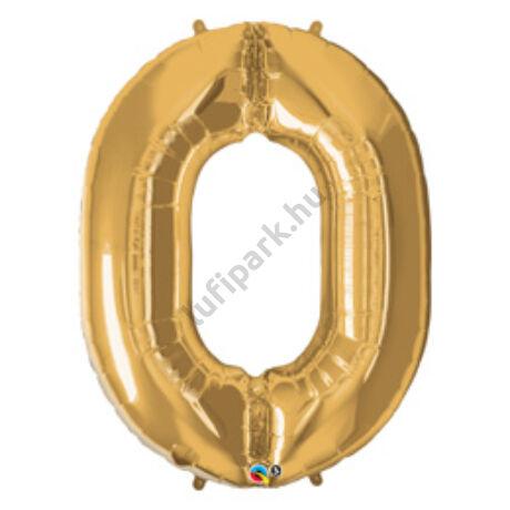 34 inch-es Number 0-ás Gold - Arany Számos Fólia Léggömb